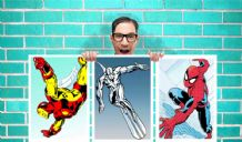Comic Ironman, Silver surfer and Spiderman Set of 3 Art Work - Wall Art Print Poster Pick A Size -  Comic Art Geekery